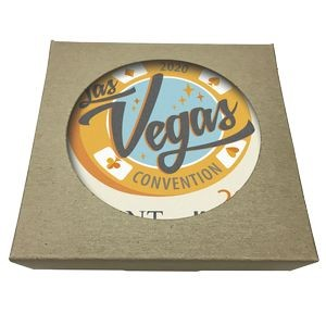 Square Absorbent Stone Coaster w/ Natural Kraft Box