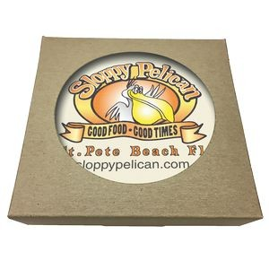 Round Absorbent Stone Coaster w/ Natural Kraft Box