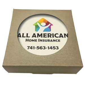 Set of 4 Square Absorbent Stone Coasters w/ Natural Kraft Box